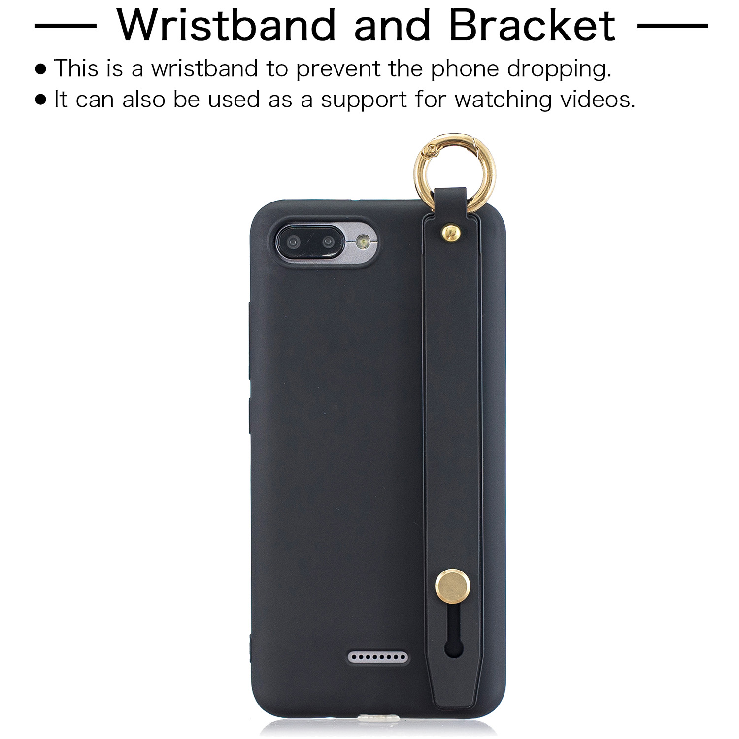 For Redmi 6A Simple Solid Color Chic Wrist Rope Bracket Matte TPU Anti-scratch Non-slip Protective Cover Back Case 1 black