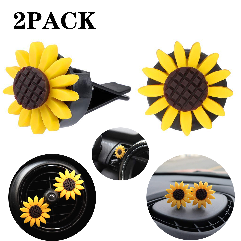 2pcs Car Air Freshener Sunflower Air Vent Clips Car Clip Interior Air Vent Decorations