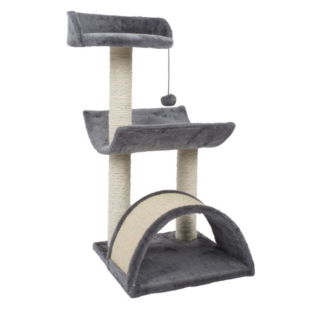 [US Direct] Cat  Condo  Set 28-inch Tree Tower With Arc Tray Scratching Post Step Hb-20414 N001 Ladder gray