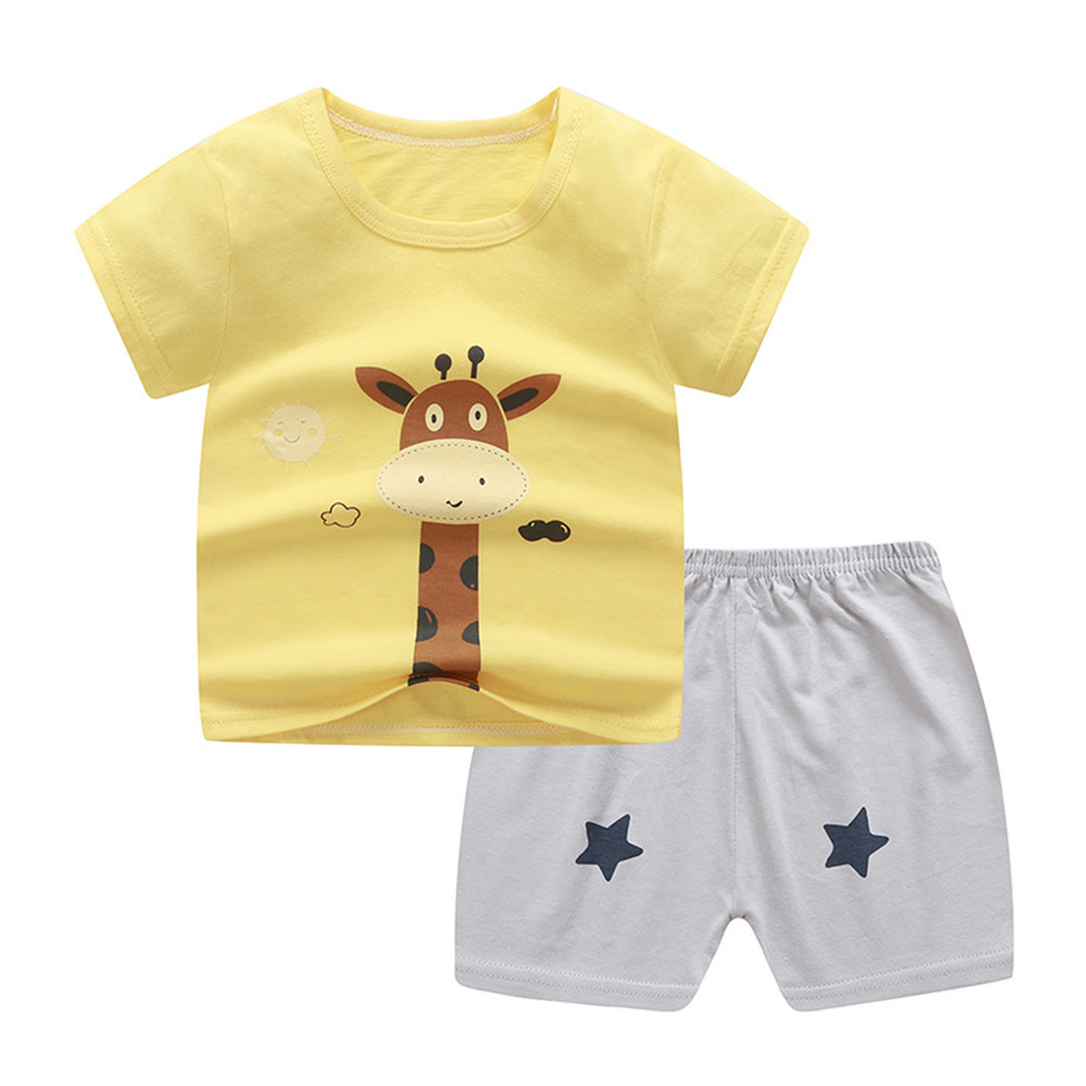 2Pcs Unisex Baby Short Sleeved Tops+Shorts Cartoon Pattern Clothes Children Home Wear D_90