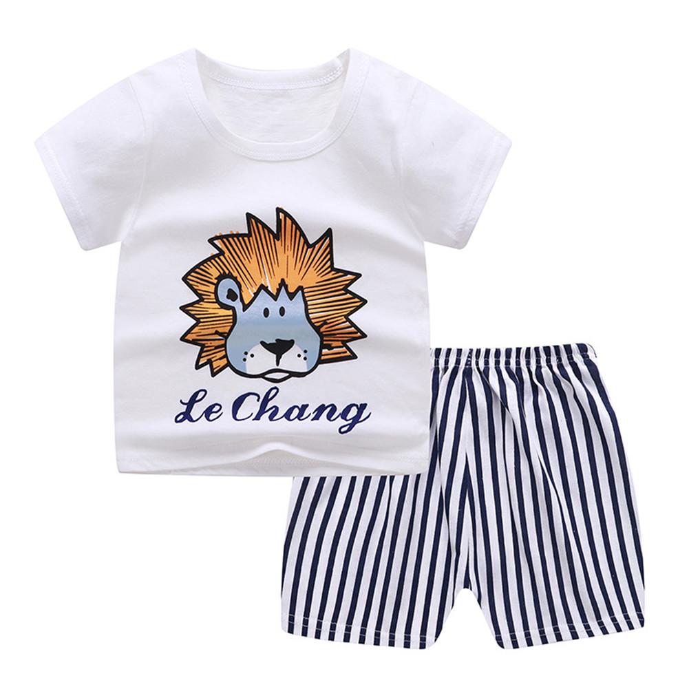 2Pcs Unisex Baby Short Sleeved Tops+Shorts Cartoon Pattern Clothes Children Home Wear C_90
