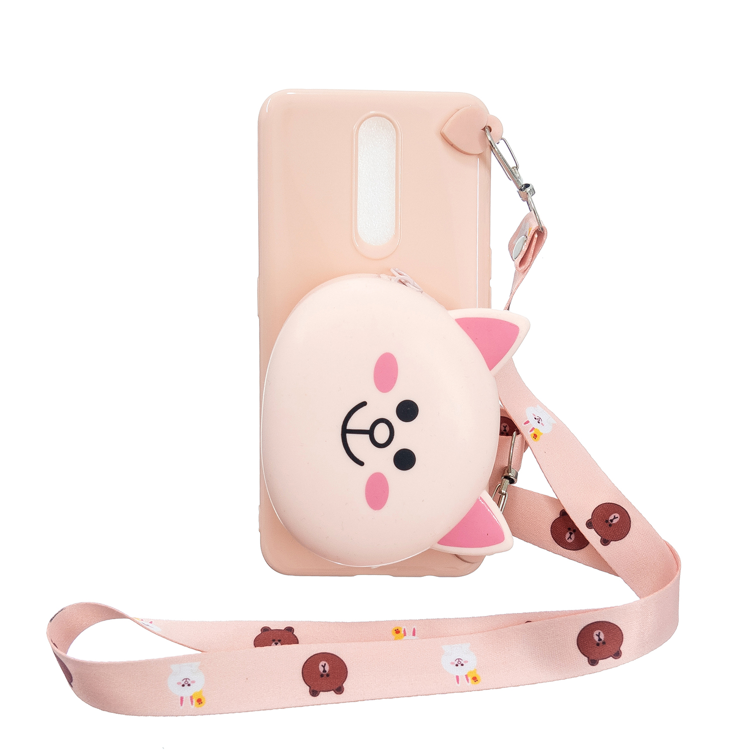 For OPPO F11/F11 Pro Cellphone Case Mobile Phone TPU Shell Shockproof Cover with Cartoon Cat Pig Panda Coin Purse Lovely Shoulder Starp  Pink