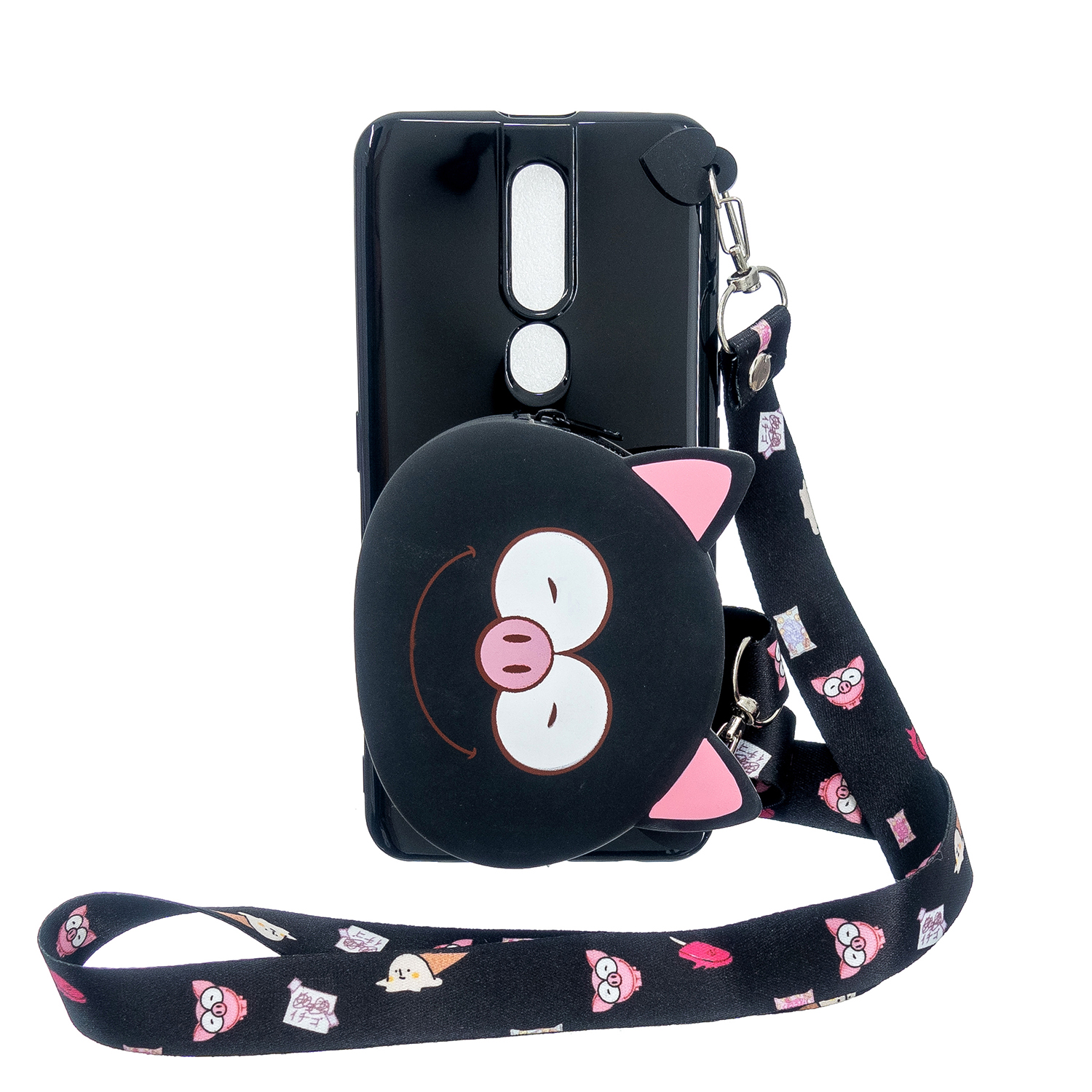 For OPPO F11/F11 Pro Cellphone Case Mobile Phone TPU Shell Shockproof Cover with Cartoon Cat Pig Panda Coin Purse Lovely Shoulder Starp  Black
