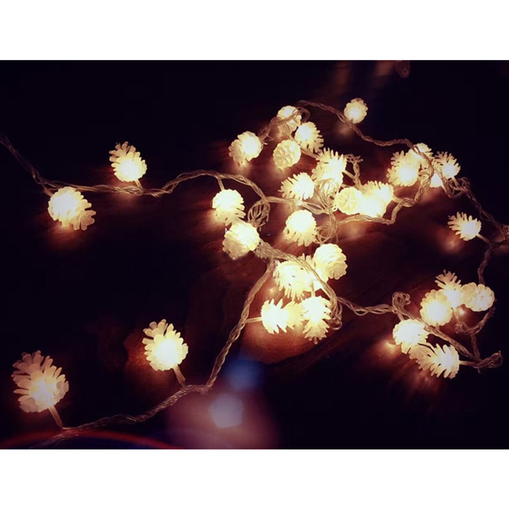 LED Beads Pine Corn LED Light String Home Tree Hangings Ornaments Decoration Pine cone 4 meters 40 light battery