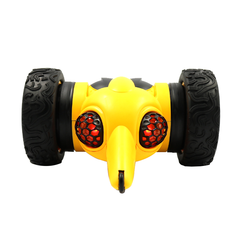 Remote Control Stunt Car Toy 3699-SY1 Dual Lighting System Roll Over Stunt Car yellow