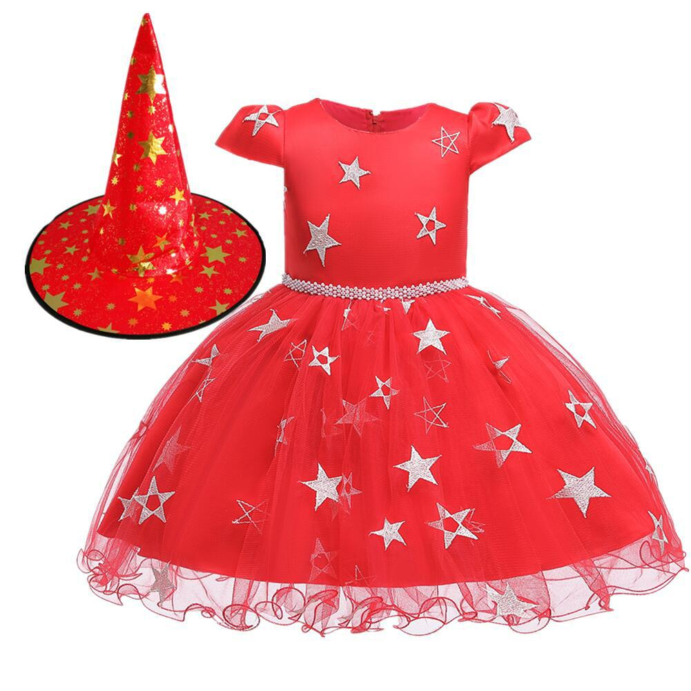 Kids Girls Halloween Witch Hat Star Princess Dress Set for Party Wear red_90cm
