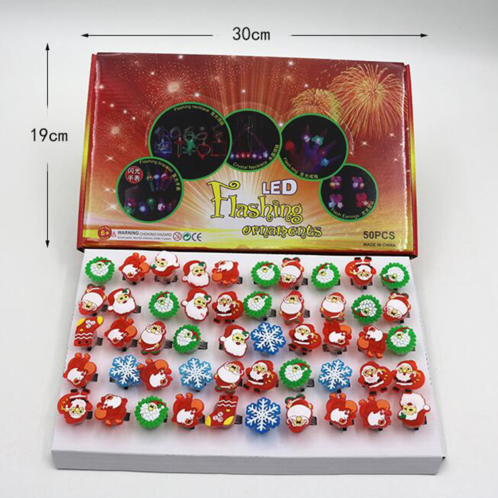 50Pcs Luminous Rings LED Flashing Finger Cartoon Light Party Toys for Kids Christmas ring