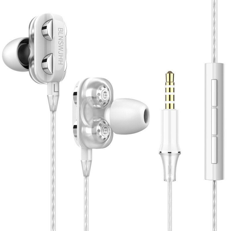 Wired Earphone HiFi Super Bass 3.5mm In-Ear Headphone Stereo Earbuds Ergonomic Sports Headsest Birthday Gift White