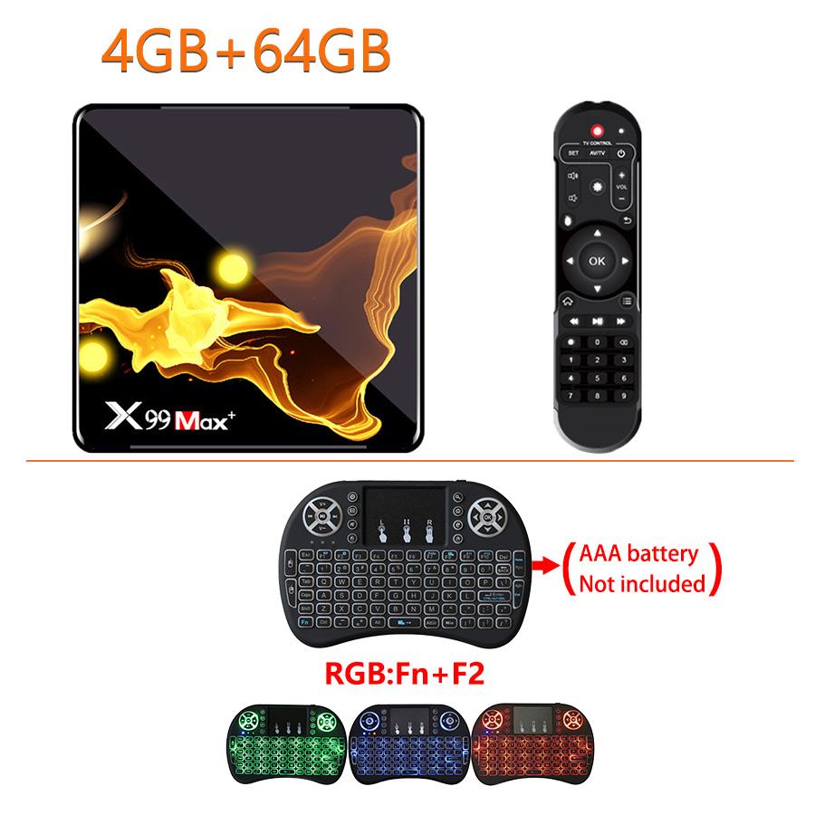X99 Max+ Tv  Box S905x3 Chip Dual Frequency Wifi Uad Core 4gb Ram 32gb 64gb Wifismart Tv Box 4+64G_Au plug+I8 Keyboard