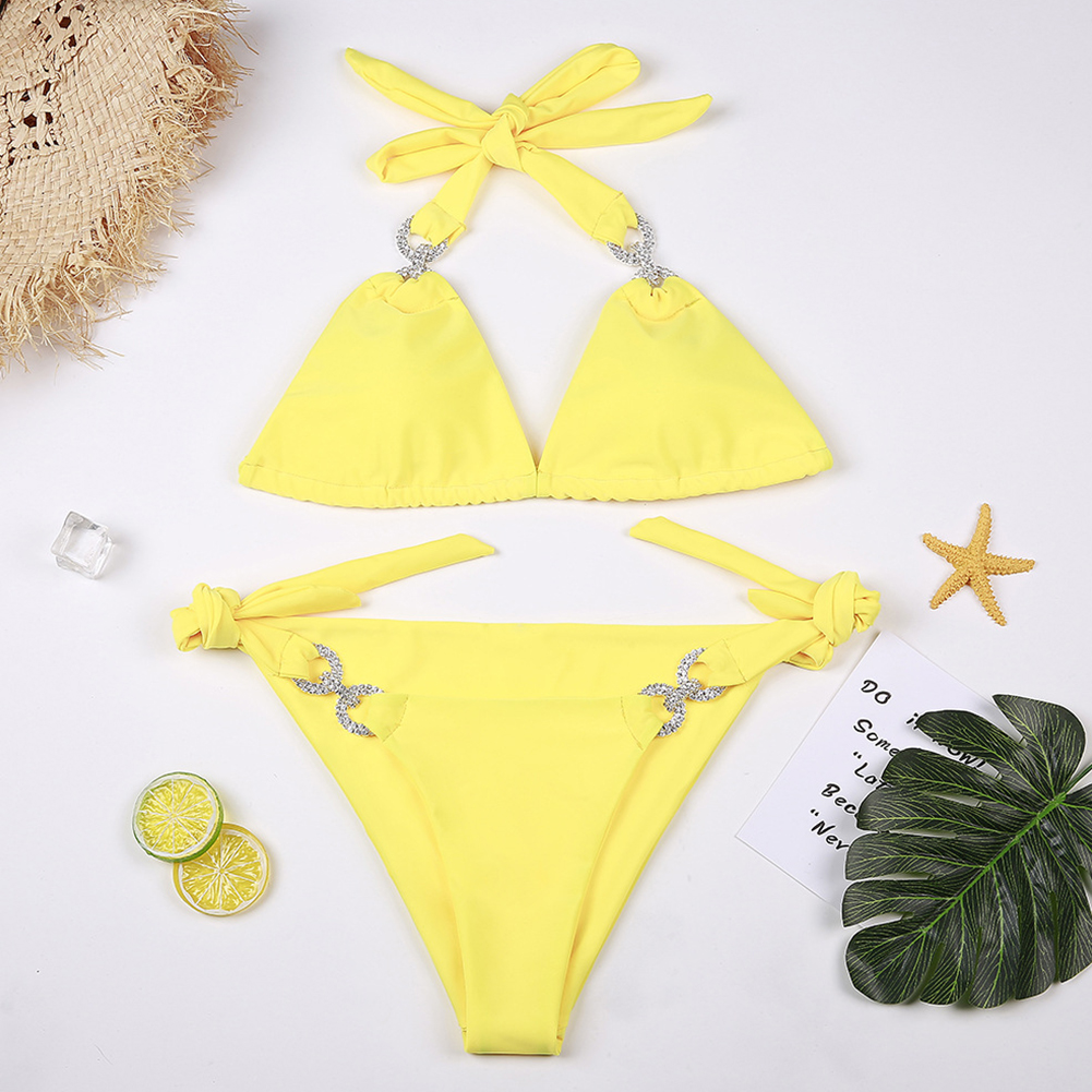 Women Sexy Solid Color Split Diamond Bikini Suit