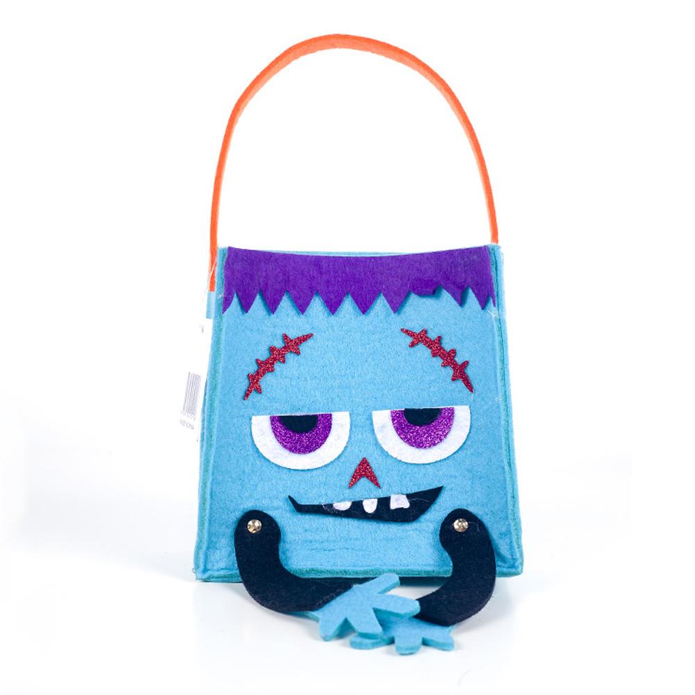 Halloween Candy Felt Holder Bag,Square Cartoon Gift Hand Bag,Halloween Kids Trick or Treating Bag 26*16CM A blue