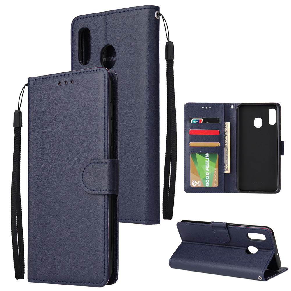 For Samsung A30/A20 Flip-type Leather Protective Phone Case with 3 Card Position Buckle Design Phone Cover  blue