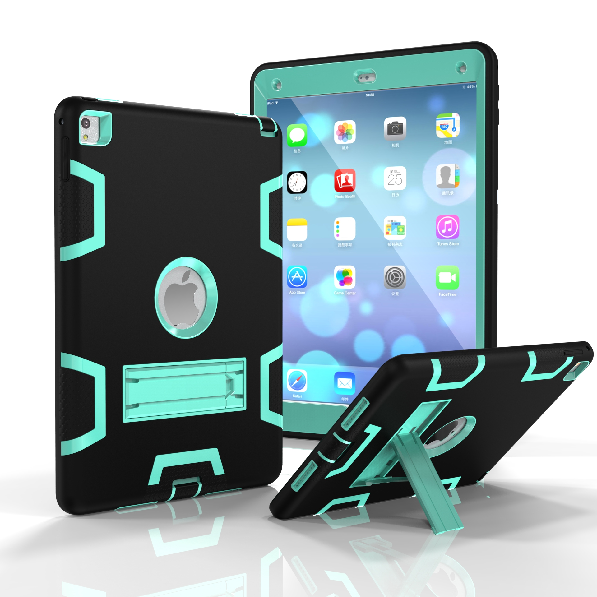 For iPad air2/iPad 6/iPad pro 9.7 2016 PC+ Silicone Hit Color Armor Case Tri-proof Shockproof Dustproof Anti-fall Protective Cover  Black + mint green