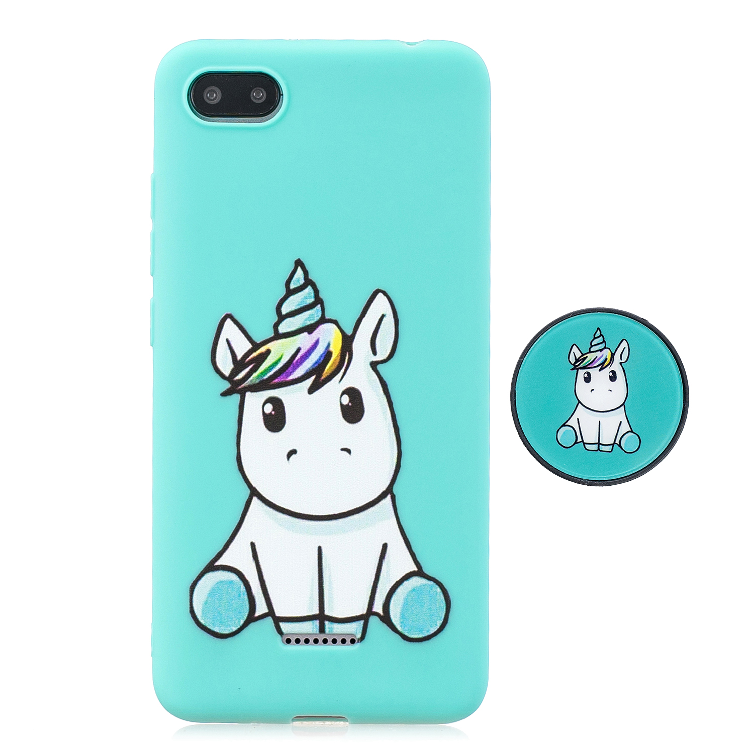 For Redmi 6A Phone Cases TPU Full Cover Cute Cartoon Painted Case Girls Mobile Phone Cover with Matched Pattern Adjustable Bracket 5