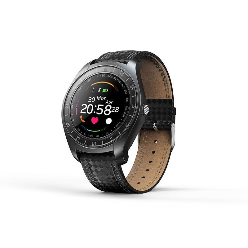 V10 Waterproof Sport Smart Watch - Blood Pressure Heart Rate Monitor for iOS Android, Black