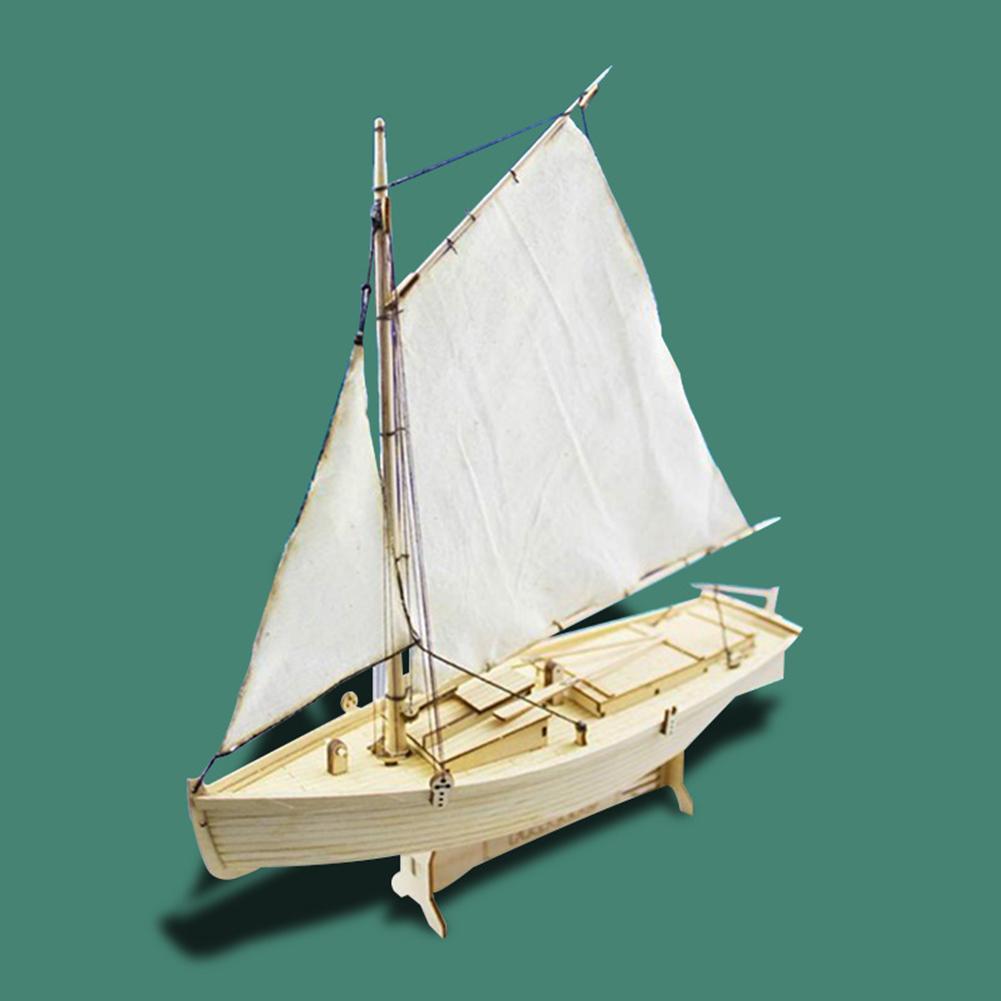 DIY 1:30 Wooden Assembled Philette Sailboat Modeling Toy