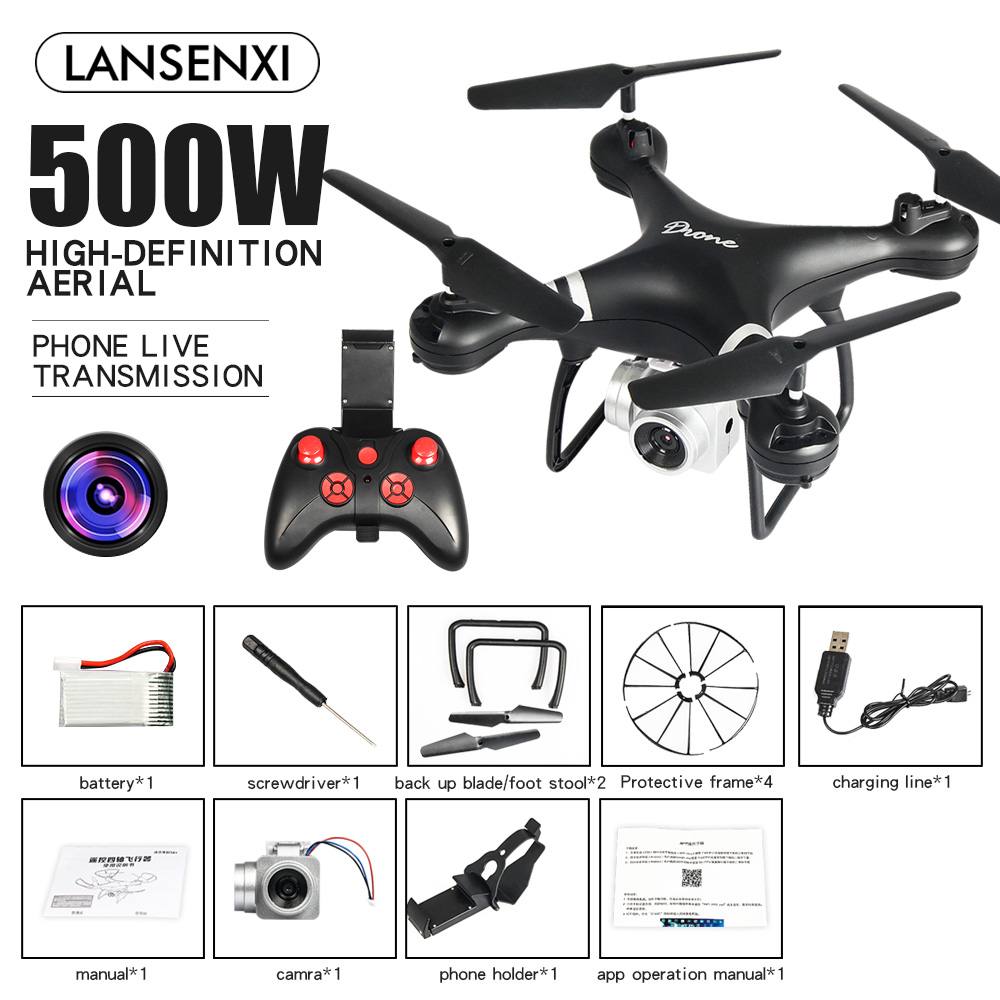 LF608 Wifi FPV RC Drone Quadcopter with 0.3MP/2.0MP/5.0MP Camera Get the Longer Playing Time Black 5MP