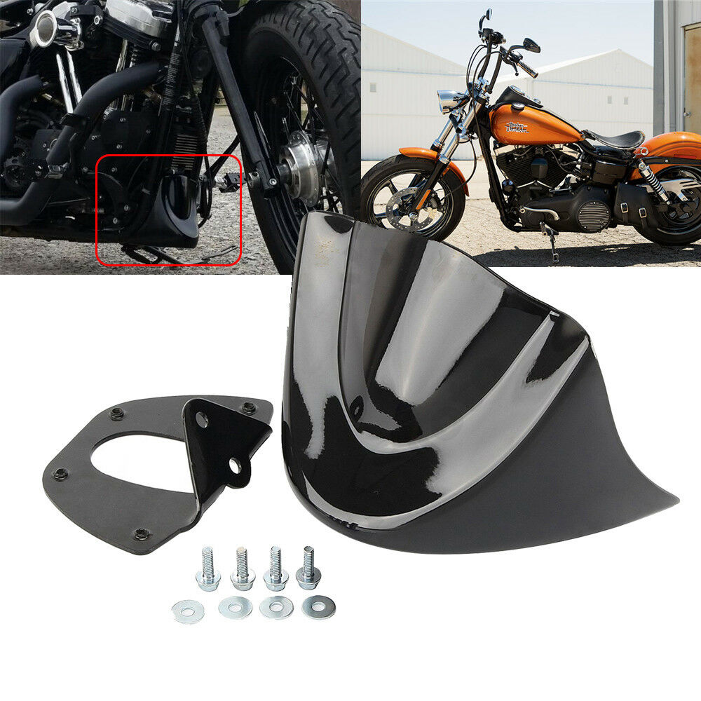 Motorcycle Glossy Mudguard Cover Air Dam Fairing For  Dyna Fat Bob FXDL 2006-2017 Bright black