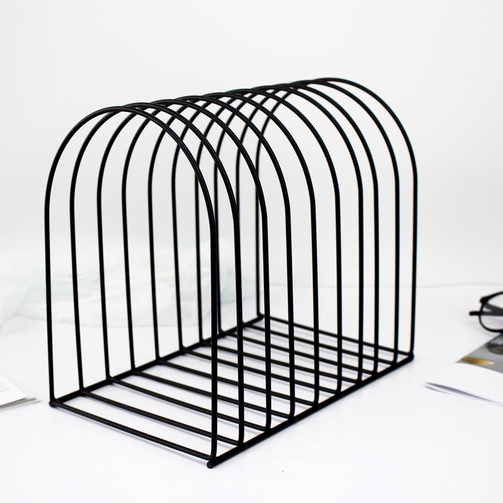 Metal Bookshelf Stand Book Standing Document File Desktop Manager Holder black_large