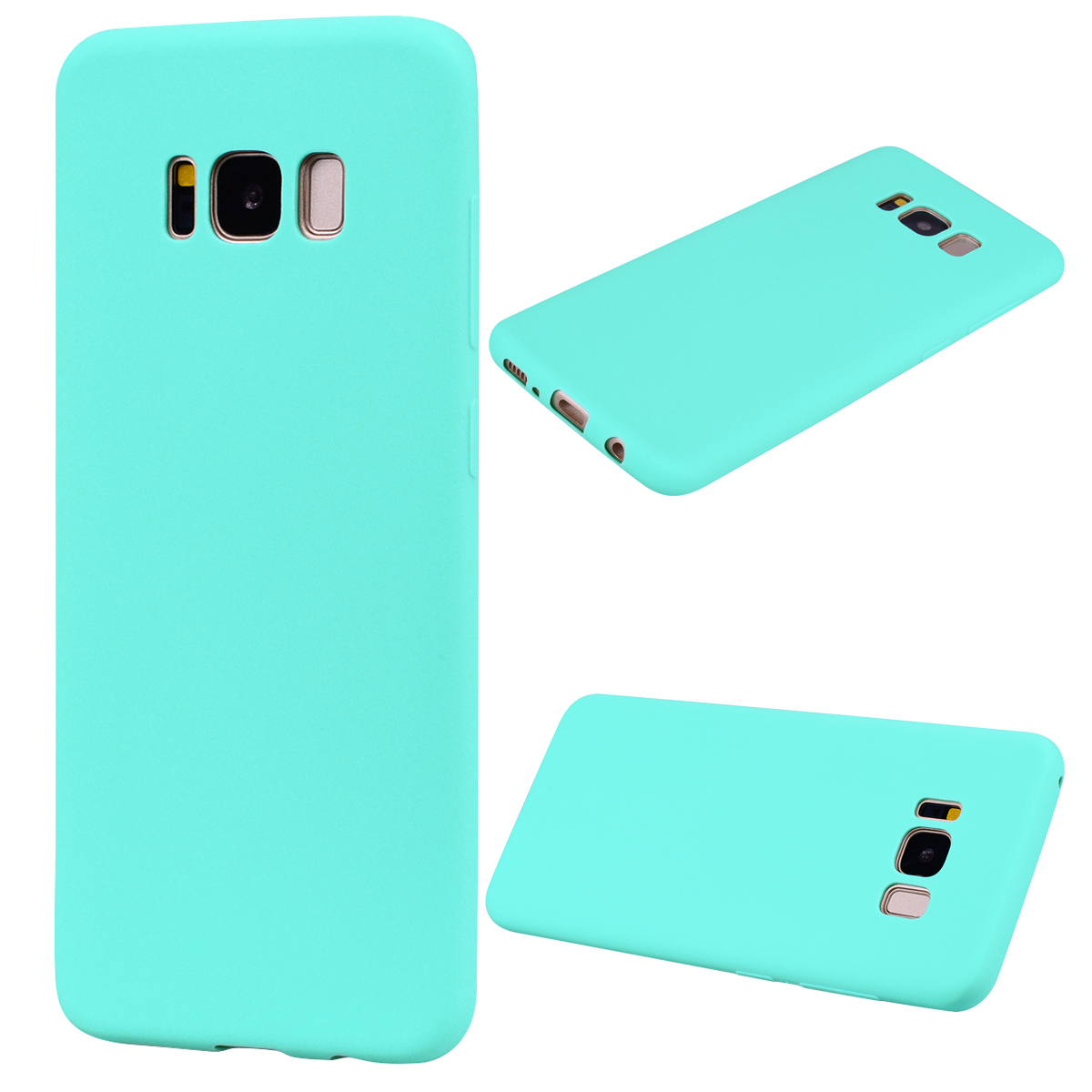 for Samsung S8 Lovely Candy Color Matte TPU Anti-scratch Non-slip Protective Cover Back Case Light blue