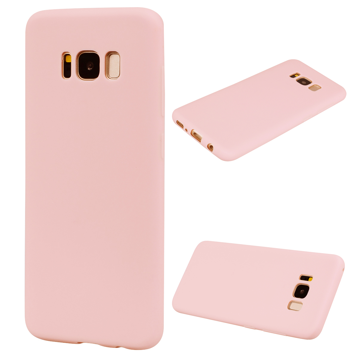 for Samsung S8 Lovely Candy Color Matte TPU Anti-scratch Non-slip Protective Cover Back Case Light pink