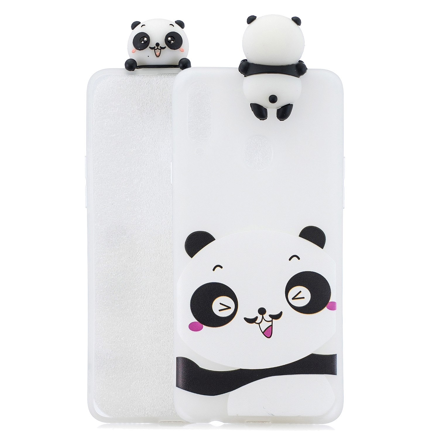 For Samsung A10S A20S Color Painting 3D Cartoon Animal Full Protective Soft TPU Mobile Phone Case white