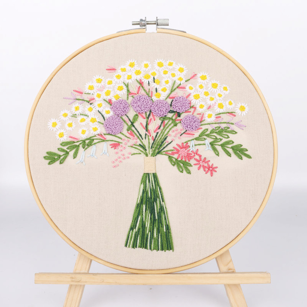 Diy Embroidery Starter Kit with Plants Flowers Pattern+ Hoops Kit  Material package + 20cm imitation bamboo embroidery stretch