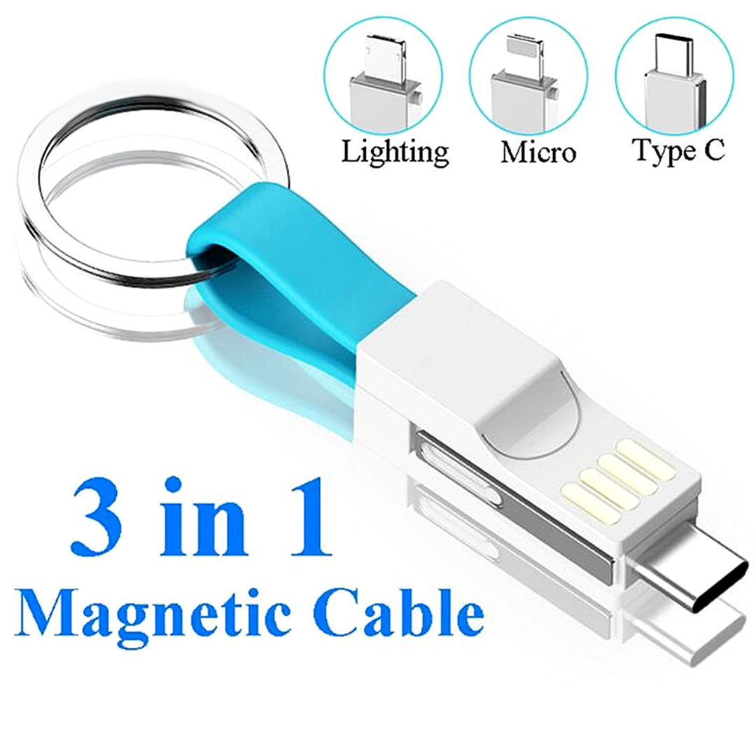 13 Cm Usb Cable 3 In 1 Type C Micro Usb Portable Charging Data Cables blue