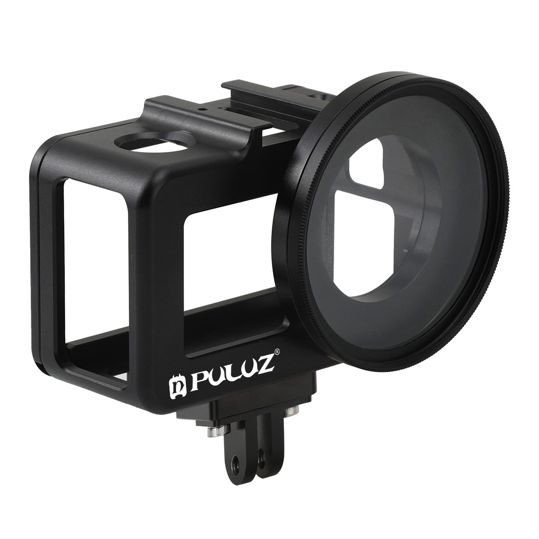 PULUZ CNC Aluminum Alloy Protective Cage Case with 52mm UV Lens for DJI Osmo Action Camera Accessories black