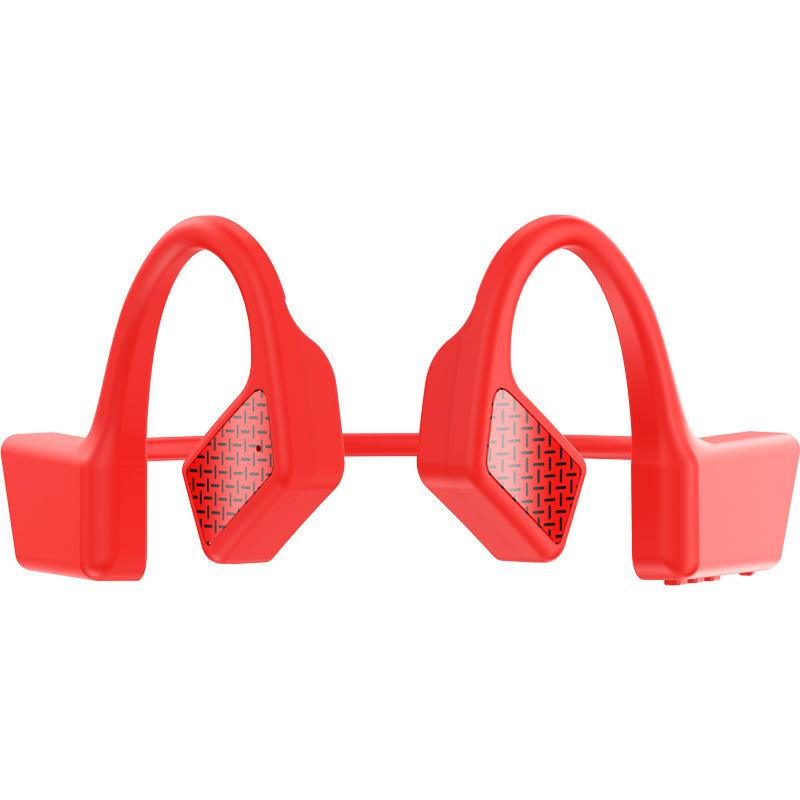 Bone Conduction Earphone Bluetooth Wireless Not In-ear Headphones Waterproof Sports Headset red