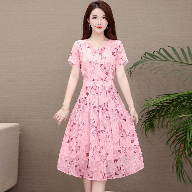 Summer Slim V-neck Floral Dress Elegant Short Sleeves Middle Long Printing Causal Dress red_L