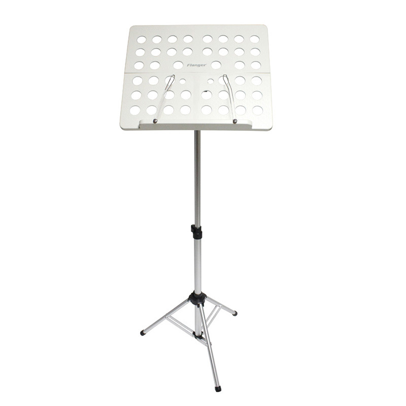 Flanger FL-05R Aluminum Alloy Foldable Sheet Music Tripod Stand Holder with Carrying Bag for Violin Piano Guitar  white