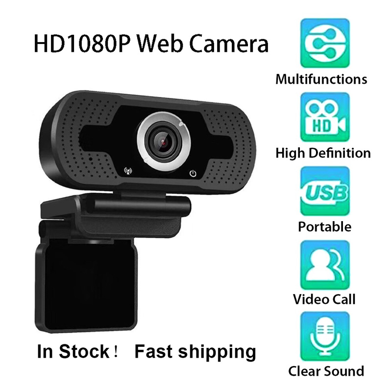 1080P HD Online Course USB Camera Live Broadcast Built-in Sound Absorption Noise Reduction Microphone Black 1080P