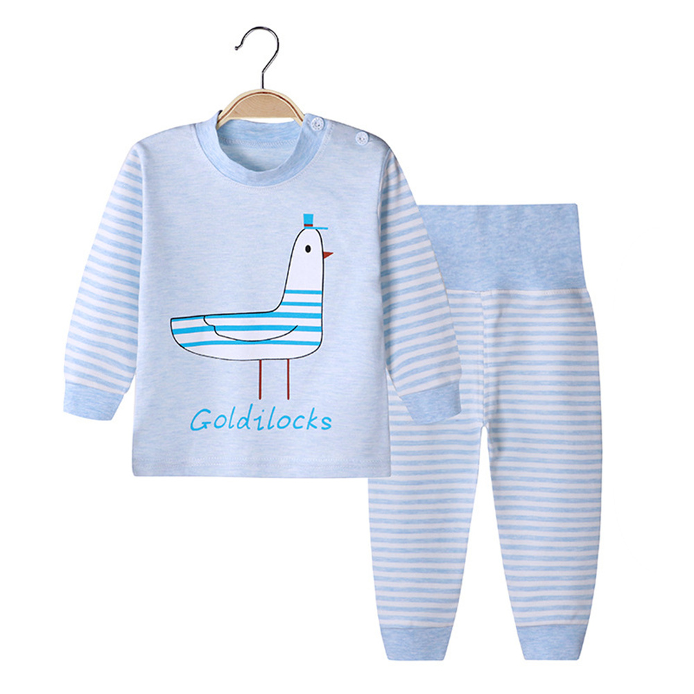 2 Pcs/set Children's Underwear Set Cotton Cartoon Long Sleeve + High Waist Trousers for 0-3 Years Old Kids (High waist) seagull_90