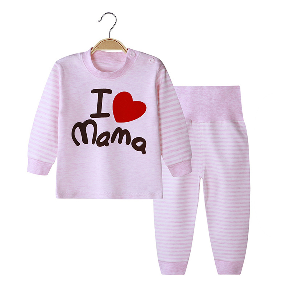 2 Pcs/set Children's Underwear Set Cotton Cartoon Long Sleeve + High Waist Trousers for 0-3 Years Old Kids (High waist) love mom_90