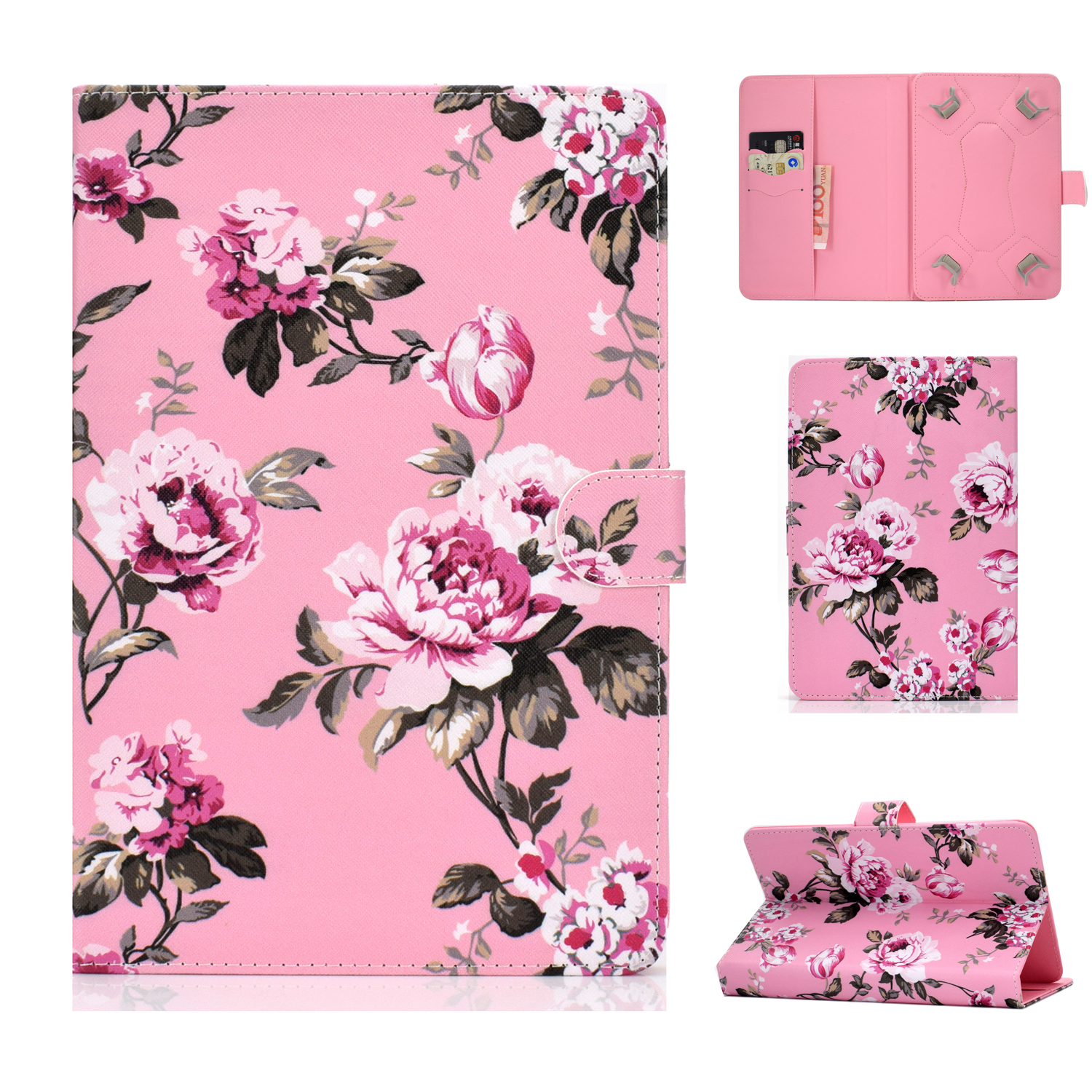Universal Laptop Protective Case 7Inches Color Painted PU Cover with Front Snap Pink flower
