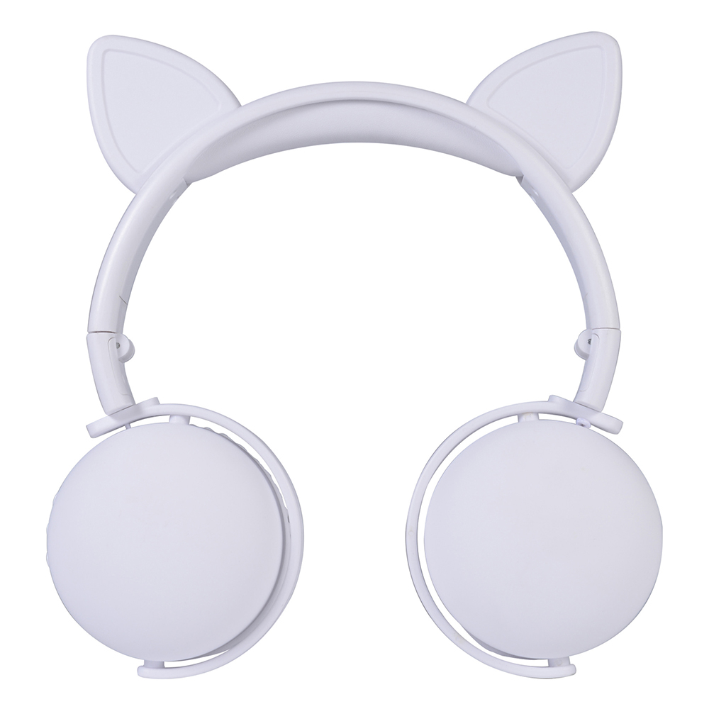 Bluetooth 5.0 Headphone Cute Cat Ears Wireless Folding Earphones Stereo Noise Reduction Children Headset with Mic for Adult Cat ears (white)
