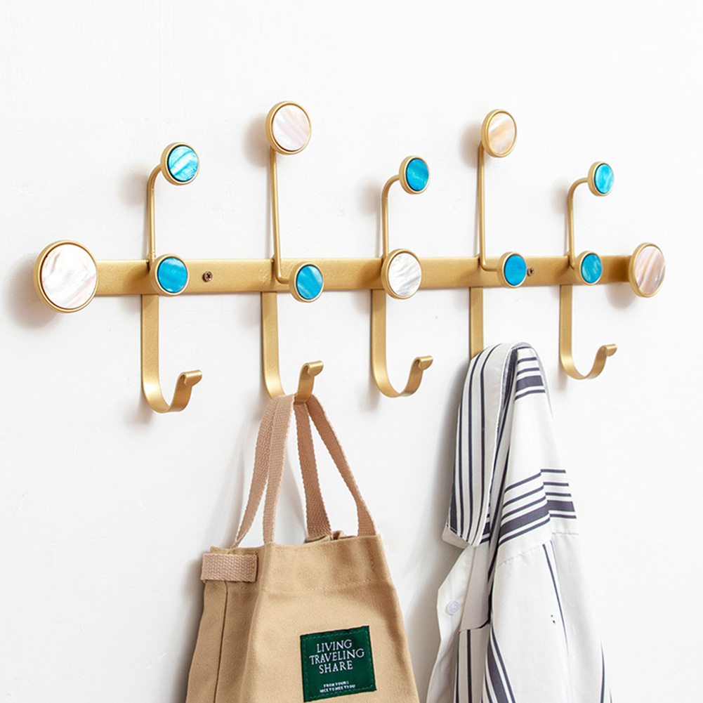 Wall Storage Rack with Hanging Hook for Home Cloakroom Living Room Organize Gold_68 * 5.5 * 24cm