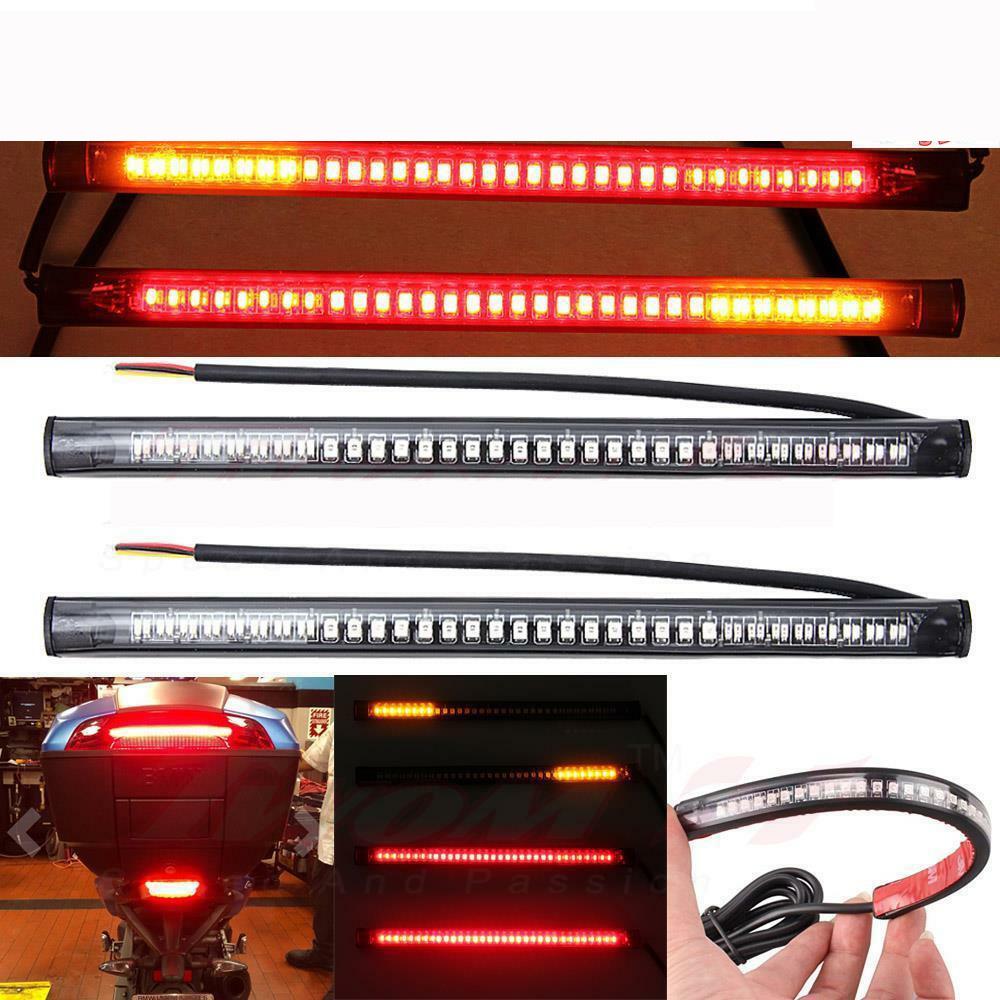 2X Universal Motorcycle flexible 48 LED Light Strip 8'' Steering Signal Tail Light Bar 48led