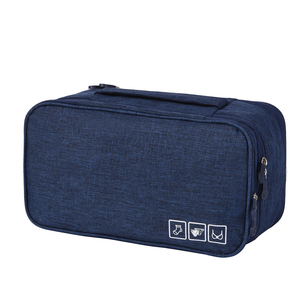Portable Large Capacity Waterproof Positive Ion Storage Bag for Travel Bra Underwear Socks Cosmetics Navy