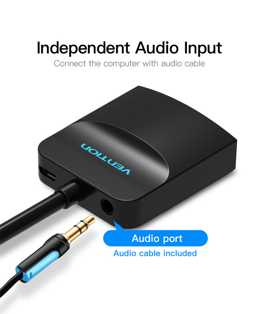 Black VGA to HDMI Converter with Audio HD Adapter Cable Computer TV Projector Video Adapter ABS 0.15m