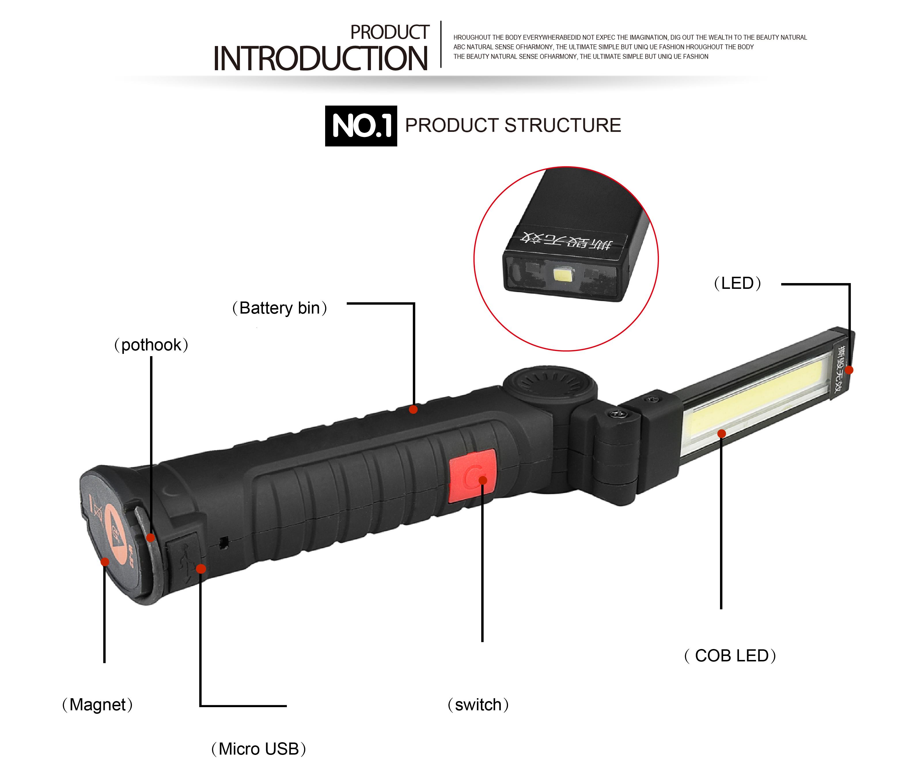 Portable Bright COB LED Lights USB Charging Magnet Lamp Red Light Emergency Flashlight 175-A