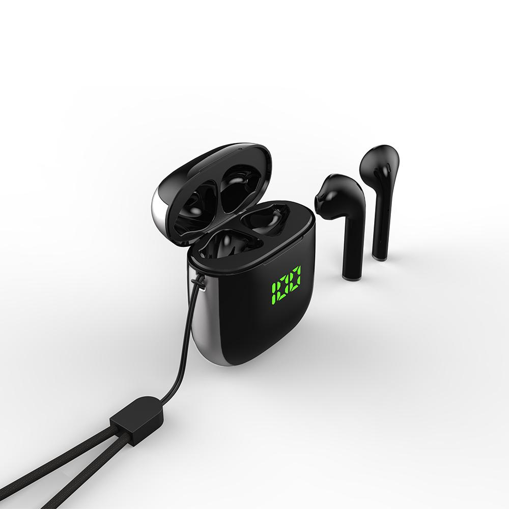 WK-60 TWS Wireless Earphone Bluetooth 5.0 Earphones Led Power Display Noise Reduction Sport Headset Black silver