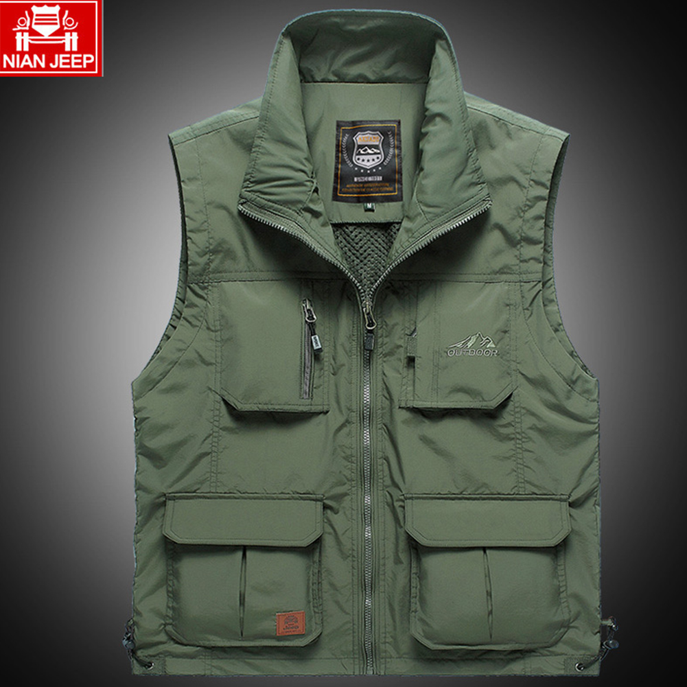 Outdoor Fishing Vest Quick-drying Breathable Mesh Jacket for Photography Hiking Army Green_M