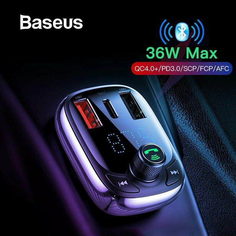 Handsfree Wireless Bluetooth 5.0 Car Kit FM Transmitter Radio MP3 Player 36W USB Type-C Charger black
