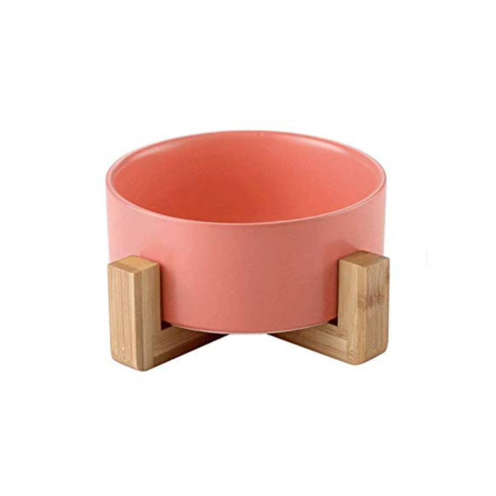 Large Capacity Pet Ceramic Feeding Bowl with Wood Frame for Cat Dog Food Pink