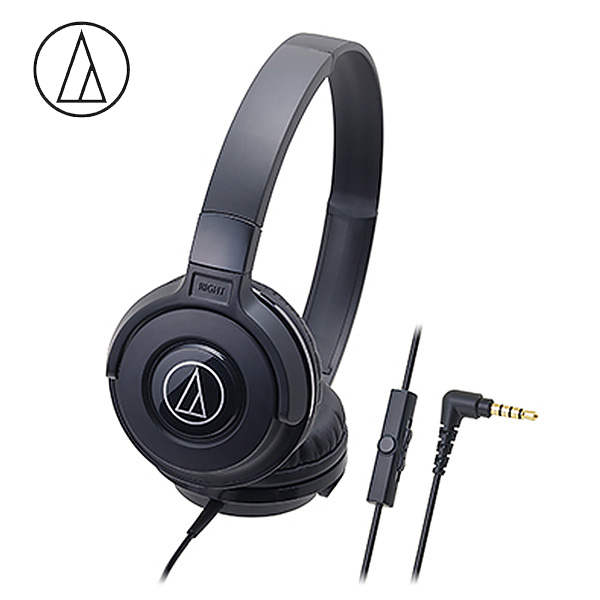 Original Audio-Technica ATH-S100iS Headset Wired Control Game Headphone with Micphone Bass Music Earphone for Cellphones Computer Black