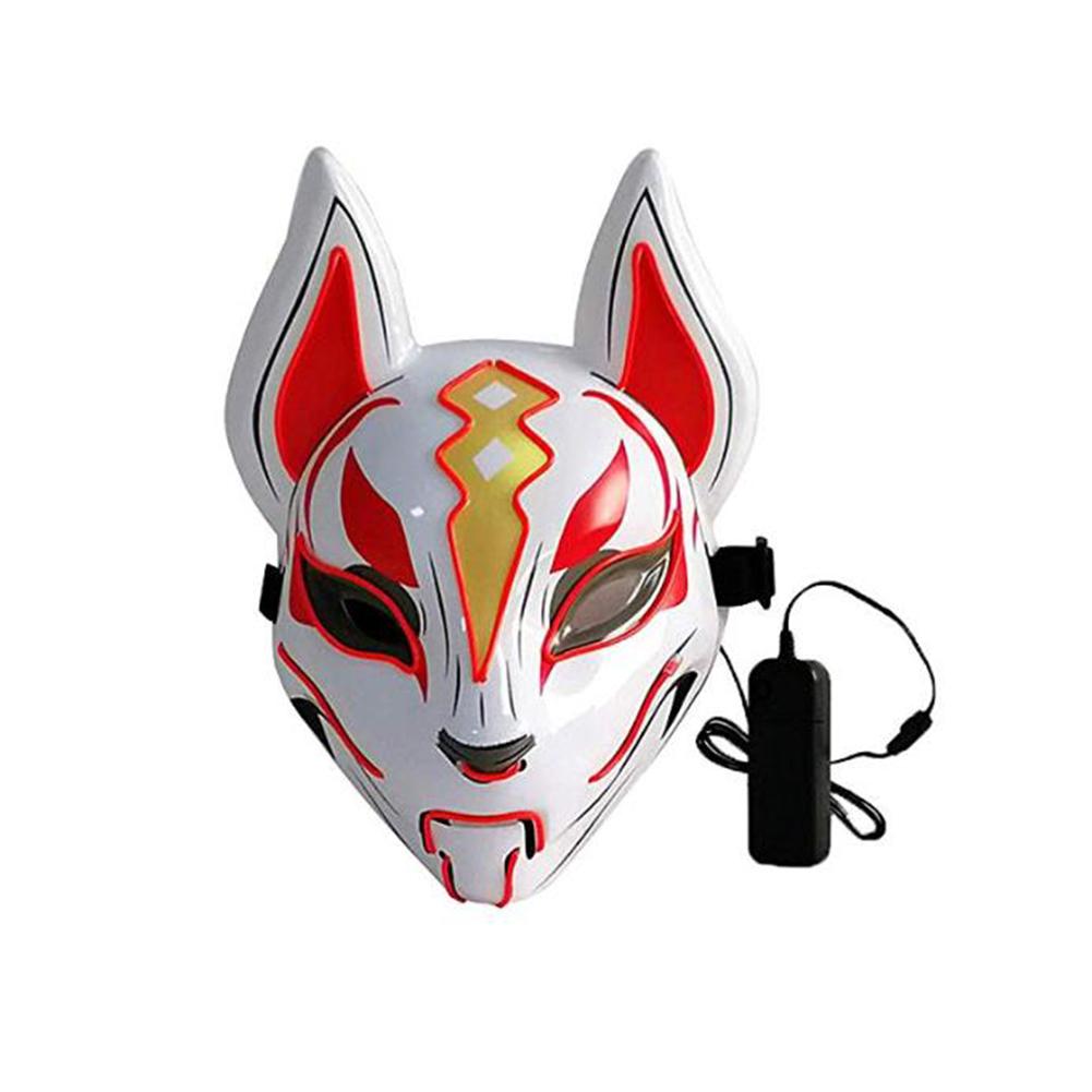 Women Men LED Luminous PVC Mask for Carnival Dance Ball Halloween Christmas 20*24 red