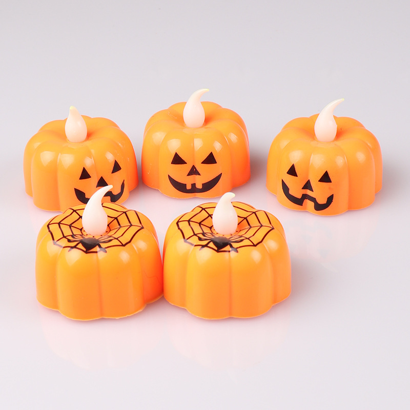 Halloween Party Decorations LED Electronic Pumpkin Light Decoration Lamp Toy Pumpkin Candle Light Spider