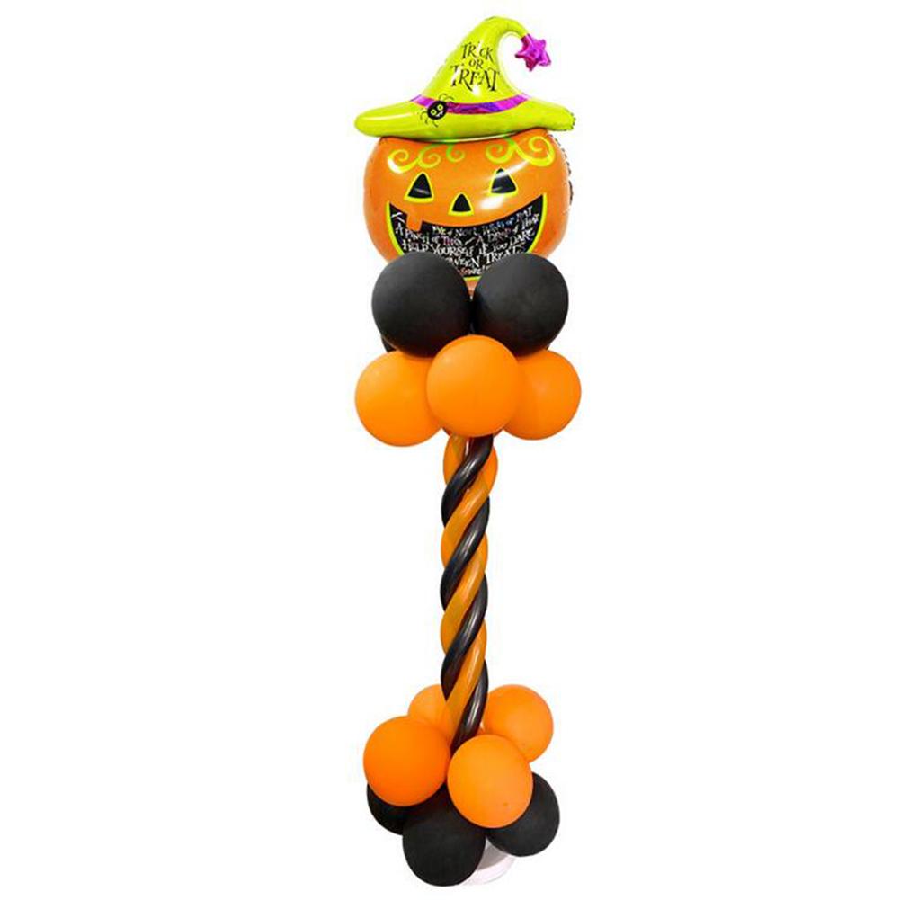 Halloween Spiral Column Aluminum Balloon Set Bat Pumpkin Cartoon Balloon for Mall Bar Supermarket Party Decoration Halloween Spiral Column Set Pumpkin Head